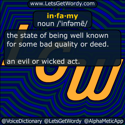 infamy 01/10/2019 GFX Definition